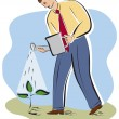 A businessman watering a plant — Stock Photo