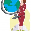 A business woman with a large world globe — Stock Photo #12007725