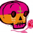 Pink and orange skull with red rose — Stock Photo #12007975