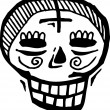 Black and white skull with cross on forehead — Stock Photo