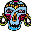 A colorful skull mask with big earrings — Stock Photo