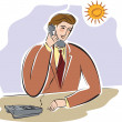A businessman talking on the telephone with the sun shining — 图库照片
