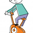 Man on exercise bike — Stock Photo