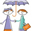 Stock Photo: Two men shaking hands under umbrella