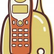 Illustration of a cordless phone — Stok fotoğraf