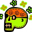 A green skull with flowers represented on a white background - Stock Photo
