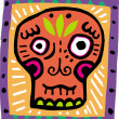 An illustration of an orange skull with purple border - Foto Stock