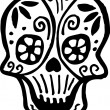 A skull with flowers drawn in black and white - Stock Photo