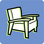 Ilustración de una silla de descanso sobre un fondo azul — Foto de Stock