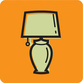 Illustration of a lamp on an orange background — Stock Photo