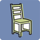 Illustration of a chair on a blue background — Stok fotoğraf