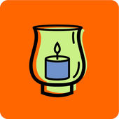 Illustration of a hurricane candle holder on an orange background — Stock Photo