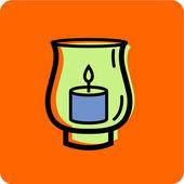 Illustration of a hurricane candle holder on an orange background — Stock Photo