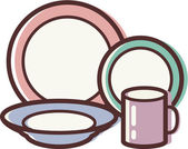 Illustration of a dish set — Stock Photo