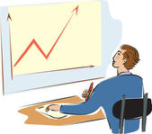 A businessman looking at a graph — Stock Photo