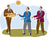 Three businessmen passing a package — Stock Photo