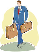 A businessman carrying a briefcase and luggage — Stock Photo