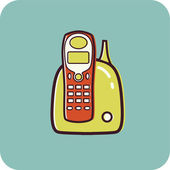 Illustration of a cordless phone on a blue background — Stock Photo