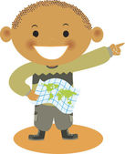 A boy holding a map — Stock Photo