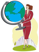 A business woman with a large world globe — Stock Photo