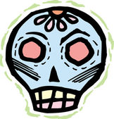Blue skull with rough green border — Stock Photo