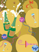 A champagne and streamer collage — Stock Photo