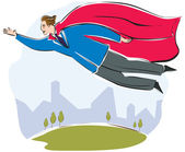 A businessman with a large red cape flying — Stock Photo