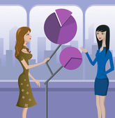 Two women and a sculptural pie graph — Stock Photo