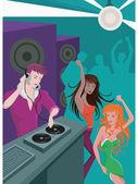Un dj tocando música y dos mujeres bailando — Foto de Stock