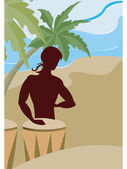 A silhouette of a man playing the bongo drums on the beach — Stock Photo