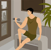 A man lifting weights — 图库照片