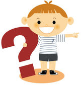 A young boy pointing holding a large question mark — Stock Photo