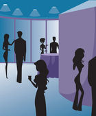 Silhouettes at a party — Stock Photo