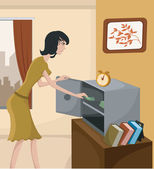 A woman putting money in a home safe — Stock Photo