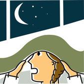 Girl hiding under blanket at night — Foto Stock