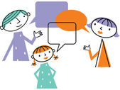 Man woman and child with speech bubbles — Stock Photo