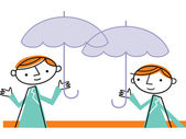Two men with umbrellas — Stock Photo
