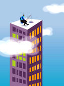 A businessman fishing on the top of a high rise building — Stock Photo
