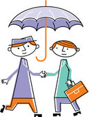 Two men shaking hands under umbrella — Stock Photo