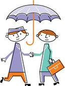 Two men shaking hands under umbrella — Stock Photo
