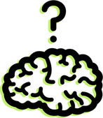 Illustration of a brain and a question mark — Stock Photo