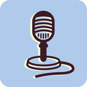 Illustration of a microphone on a blue background — Stock Photo