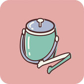 Illustration of an ice bucket on a pink background — Stock Photo