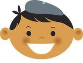 Een jongen draagt een baret — Stockfoto