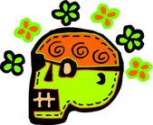 白い背景の上に表される花と緑の頭蓋骨 — ストック写真