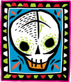 White skull on colorful bordered background — Stock Photo