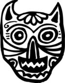 A black and white cat skull graphically represented — Foto Stock