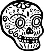 A skull with teeth missing represented in black and white — Stock Photo