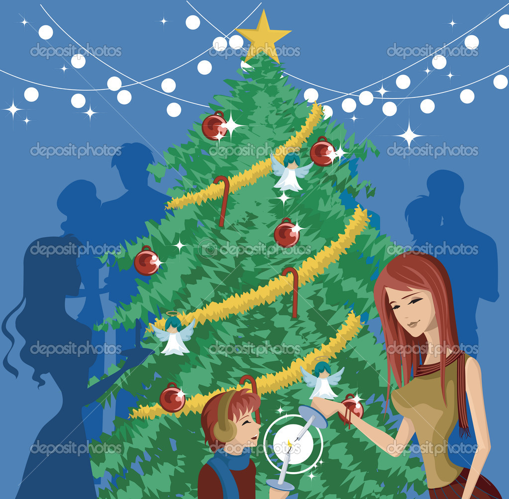 A mother and child lighting candles in front of a decorated Christmas tree — 图库照片 #12007030
