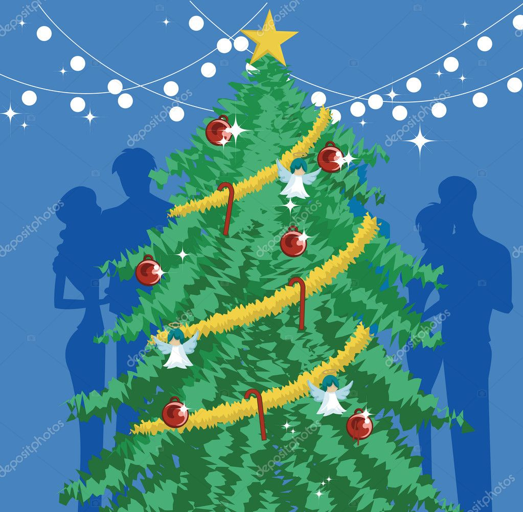 A decorated Christmas tree with silhouettes behind it — Stock Photo #12007675